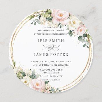 chic blush pink ivory floral gold greenery wedding invitation