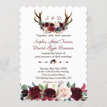 chic boho merlot navy blue floral antlers wedding invitation
