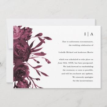 chic burgundy floral wedding postponement announcement