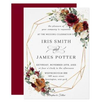 chic burgundy ivory rust floral wedding geometric invitation