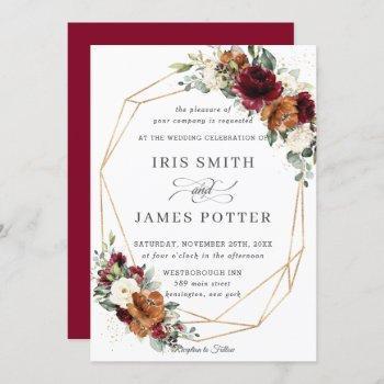 chic burgundy ivory rust floral wedding geometric invitation
