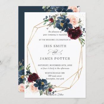 chic burgundy navy blush floral wedding geometric invitation