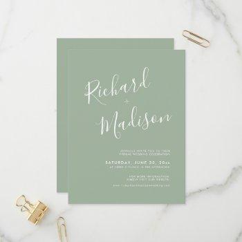 chic calligraphy sage green photo virtual wedding invitation postcard