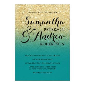 chic faux gold glitter turquoise wedding invitation