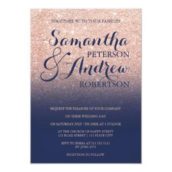 Small Chic Faux Rose Gold Glitter Navy Blue Wedding Invitation Front View