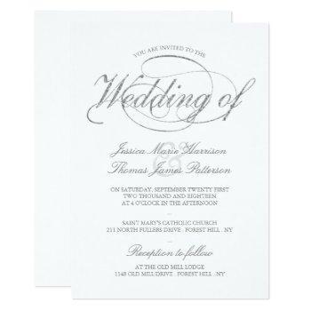 chic faux silver foil script wedding invitation