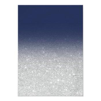 Small Chic Faux Silver Glitter Navy Blue Wedding Invitation Back View