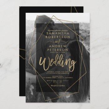 chic geometric gold typography photo wedding invitation
