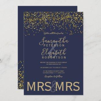 chic gold confetti navy blue lesbian wedding invitation