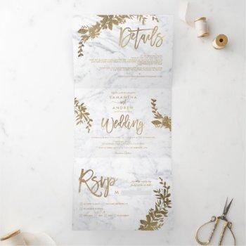chic gold floral white marble chic script wedding tri-fold invitation