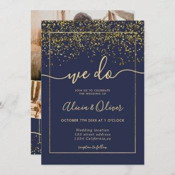 chic gold foil navy blue photo initials wedding invitation