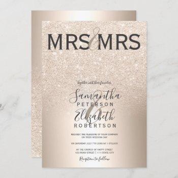 chic gold glitter ombre metallic lesbian wedding invitation