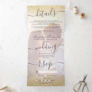 chic gold glitter ombre white script photo wedding tri-fold invitation