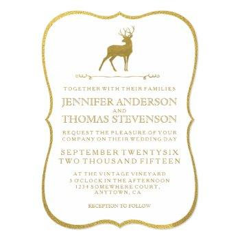 chic gold | rustic deer wedding invitations
