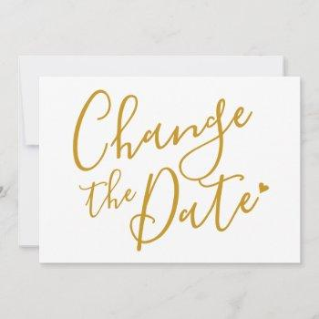 chic gold script change the date postponed save the date