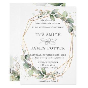 chic greenery leafy foliage wedding geometric invitation