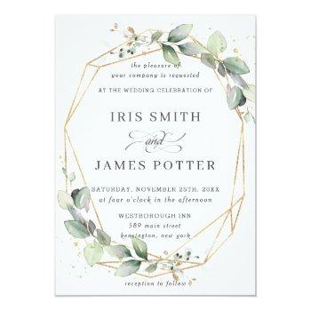 Small Chic Greenery Leafy Foliage Wedding Geometric Invitation Front View