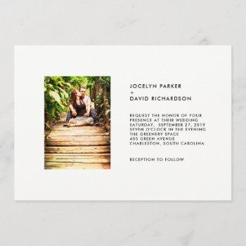 chic minimalist text and photo | wedding invitation