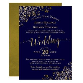 chic navy blue & gold virtual wedding livestream invitation