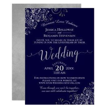 chic navy blue & gray virtual wedding livestream invitation