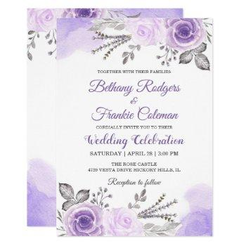 chic pastel purple floral watercolor wedding card