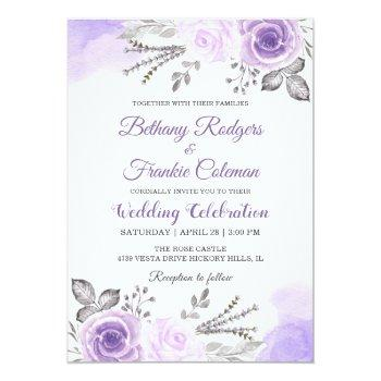 Small Chic Pastel Purple Floral Watercolor Wedding Card Front View