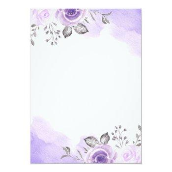 Small Chic Pastel Purple Floral Watercolor Wedding Card Back View