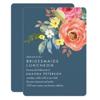 chic pink peony bridesmaids luncheon blue wedding invitation