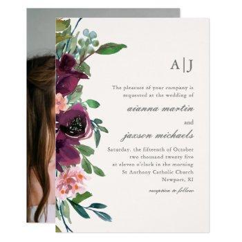 chic plum watercolor floral on blush photo wedding invitation