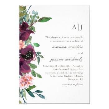 chic plum watercolor floral on peach blush wedding invitation