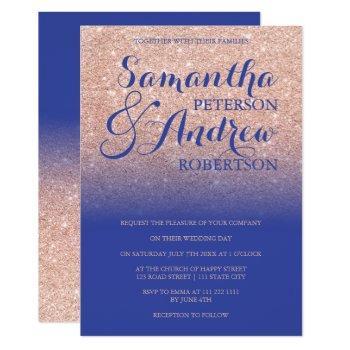 chic rose gold glitter royal blue wedding invitation