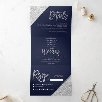 chic silver glitter typography navy blue wedding tri-fold invitation
