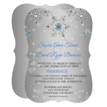 chic silver snowflakes crystal blue pearls wedding invitation