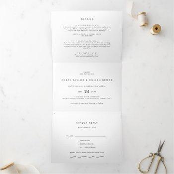 chic typography photo wedding all in one tri-fold invitation