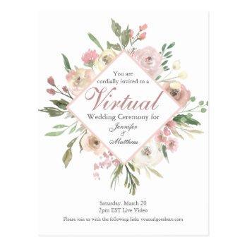 chic virtual spring floral blush pink peony postcard