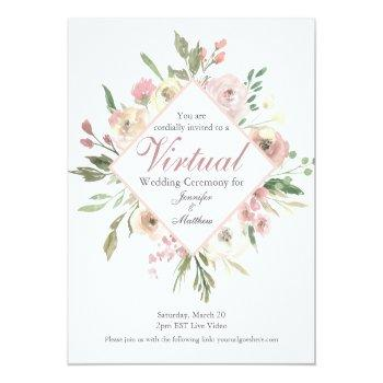 Small Chic Virtual Spring Floral Blush Pink Peony Postcard Front View