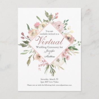 chic virtual spring floral blush pink wedding postcard