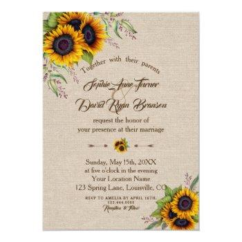 chic watercolour sunflowers linen canvas wedding invitation