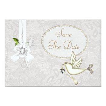 chic white dove paisley lace save the date invitation