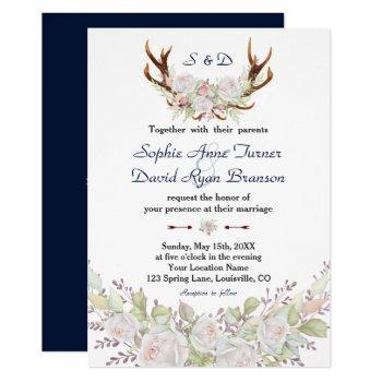 chic white roses burgundy antlers navy wedding invitation