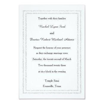 chic white silver glitter trim-3x5wedding invitate invitation