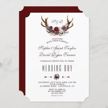 chic winter burgundy floral antlers gold wedding invitation