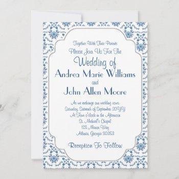 chinoiserie delft blue pattern•custom wedding invitation