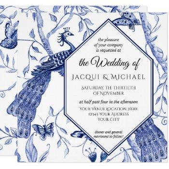 chinoiserie navy blue peacock butterfly wedding invitation