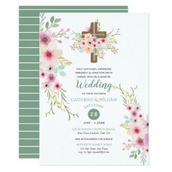 christian wedding catholic watercolor flowers boho invitation