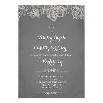 christian wedding invitation - charcoal grey