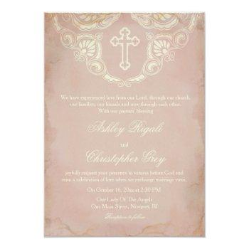 Small Christian Wedding Invitation - Vintage Pink Front View
