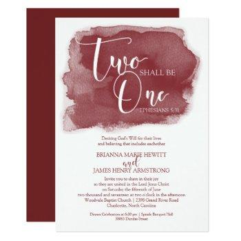 christian wedding invitation - watercolor marsala