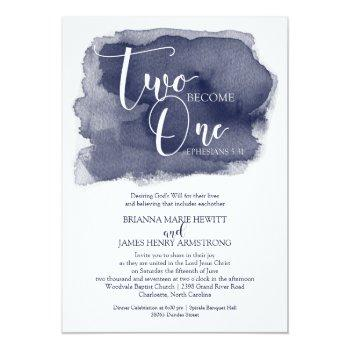 christian wedding invitation - watercolor navy