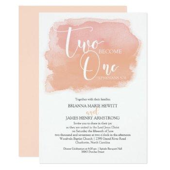 christian wedding watercolor coral shades invitation